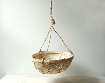Vintage Bamboo Basket, Large Hanging Basket