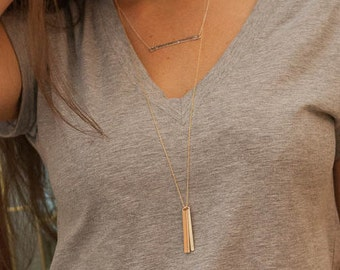 Long Gold Bar Necklace - Vertical Personalized Bar Necklace - Long Necklace - Everyday Necklace - Long Mom Necklace Kids Names Engraved