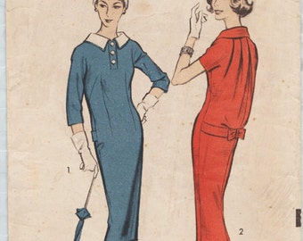 Advance 8684 / Vintage 50s Sewing Pattern / Sheath Dress / Size 12 Bust 32