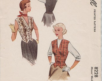 McCall 8228 / Vintage 50s Sewing Pattern / Vest Weskit / Size 14 Bust 32