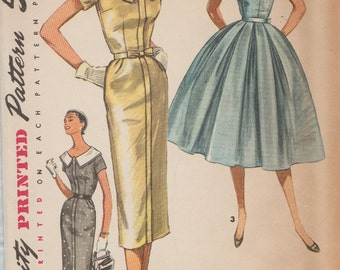 Vintage 50s Sewing Pattern / Simplicity 1566 / Dress / Size 14 Bust 32