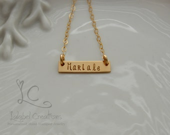 Personalized Bar Necklace, Name Plate Necklace, Gold Necklace, Gold Filled Bar Necklace, Personalized Necklace, Hand Stamped Bar Necklace