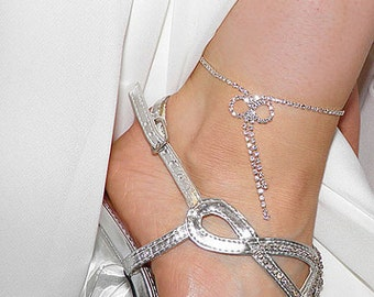 Rhinestone Anklet Bracelet with bow detail