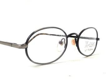 vintage 1990's NOS x-lens california eyeglasses black metal dark silver wire oval frames prescription lenses eyewear womens mens eye glasses