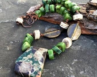 Earthy Ever Green Rustic Necklace, Mushroom Jasper, Jasper Jewelry, Bohemian Jewerly, Knotted Necklace, Jade, Mykonos Jewelry