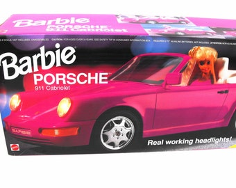 1992 Barbie Porsche Sports Car - Mattel 911 Cabriolet Hot Pink Convertible Holds Two Dolls Factory Sealed NIB Collectible Little Girl's Gift