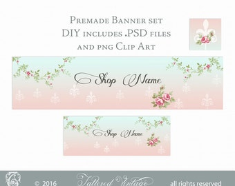 Editable Premade Banner Set Fleur-de-lis in the Sunset DIY  PSD Floral Vines PNG CliPArT Instant Download
