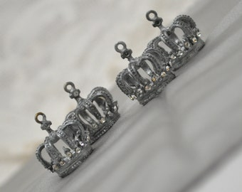 4 Painted Metal 3-D Crown and Rhinestone Charms Pendants Silver Toned