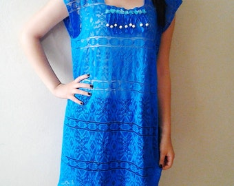 Blue lace dress cover up beach kaftan Beachwear Large size Sheer Lace Cover Up summer dresses for women