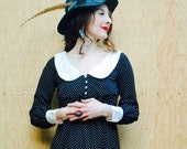 Vintage Polka Dot Maxi Dress... Best Ever Rounded Collar... Super Cute