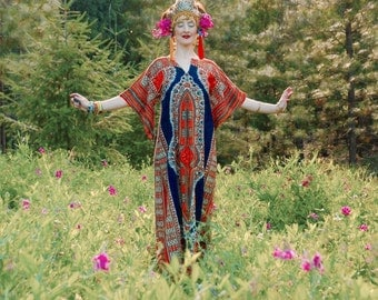 Maxi Dashiki... Angel Sleeves... Cotton Gypsy Boho Maxidress... Classic Boho Piece
