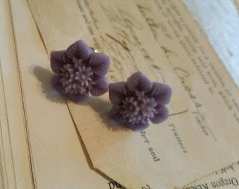 Purple Flower Flower Resin Flower plugs Gauges 0g, 00g