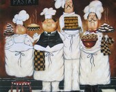 Four TALL Pastry Chefs Art Print, fat chef paintings, art, kitchen art wall decor, fun, bakers, four men, desserts, Vickie Wade art