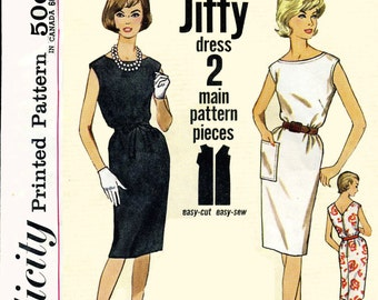 "Simplicity 4429 vintage wiggle dress with boatneck, bust 32"" CUT"