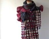 Nuno felted scarf ruffle felt scarf Blue red scarf spring scarf navy blue scarf long shawl by Galafilc