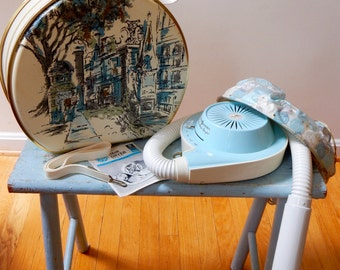 60s Retro Hair Dryer General Electric Deluxe GE HD-10 Mid Mod Super Cute Pastel Blue Scenic Case Paris Boulevard Amazing Working Appliance