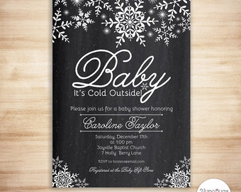 Winter Baby Shower Invitations, Baby Its Cold Outside Baby Shower Invitation, Snowflakes Baby Shower Invites, Printable, Chalkboard