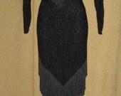 Black Lace Dress Fringe Goth Vampire Elvira Halloween Costume 80s Vintage