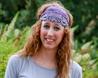 Hair Bandana Headband Plum Purple Bandanna Headband Hair Headwrap Dreadlock Accessories Womens Bandanna (#4027) S M L X