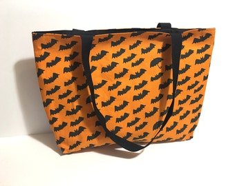 Tote Bag - Bats and Umbrella Bag - Japanese Fabric Tote - Purse - School Bag - Lined bag - Trendy - Gift - 20 dollars