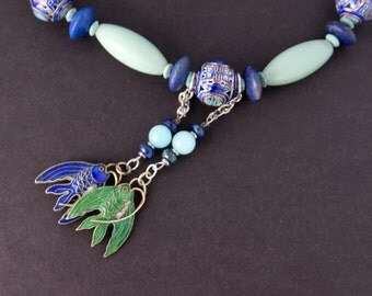Chinese Cloisonne Fish Necklace w Green Aventurine Blue Lapis and Vintage Blue and Turquoise Cloisonne Beads Gemstone Ocean Jewelry