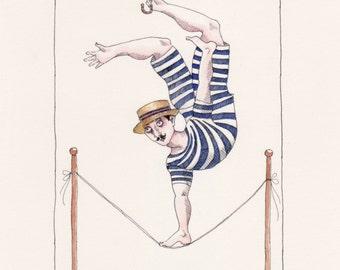 Mustachioed Slack Rope Vintage Acrobat - ORIGINAL ART