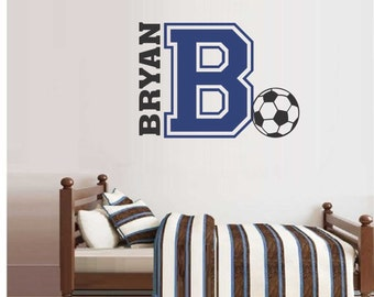 Soccer Name Varsity Letter, Vinyl Wall Lettering, Vinyl Wall Decals, Vinyl Decals, Vinyl Lettering, Wall Decals, Sports Decal, Wall Quotes