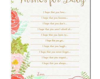 Watercolor Wishes for Baby- Baby Shower Game - Digital File
