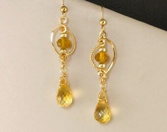 Yellow Citrine Gemstone Gold Dangle Earrings, Golden Yellow Wire Wrapped Earrings