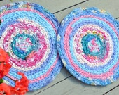 """Reserved for dsparkhill rag rug chair pads """"braided"""" crochet rag rug chairpad, 18"""" custom chairpad"""