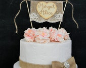 Burlap & Lace  Baby Shower Cake Topper Bunting Flag Banner Wood Heart Rustic Country Shabby Chic