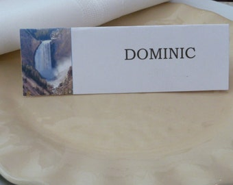 Place Cards/ Name Cards/ Food Tents- Yellowstone Falls, Wyoming - Set of 6- Table Decoration