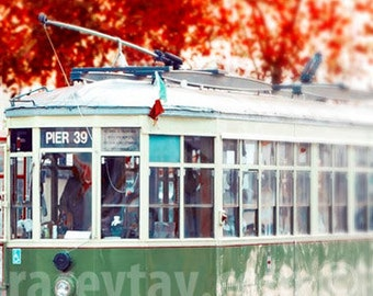 San Francisco Cable Car Print, Red, Green, Pier 39, Fall, Rustic, California Print, Office Decor