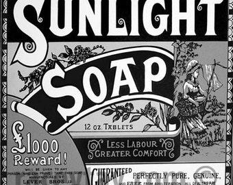 Bathroom Decor, Sunlight Soap, Retro, Vintage, Shabby Chic, Bath Wall Art, Black White, Bathroom Wall Art