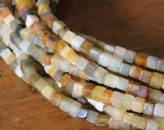 Semi Precious Cube Beads - Jade 4mm Cube Beads -  Jewelry Making Supply - Choose Amount