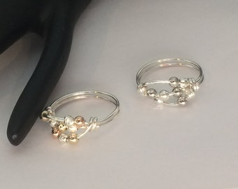 Set of 2 rings, 14kt gold filled argentium sterling silver worry ring, any size, including half and quarter