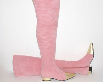 GIANNI VERSACE Vintage Over Knee Suede Boots Pink Gold OTK Size 39 - Authentic -