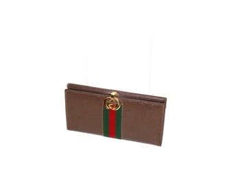 GUCCI Vintage Brown Leather Web Wallet Monogram Enamel Coin Clutch - AUTHENTIC -