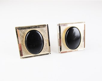 Vintage Gold Tone Dante Cuff Links with Onyx Cabochons