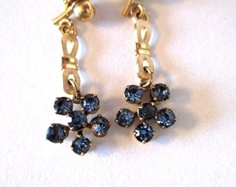 Vintage blue crystal earrings, delicate light blue beauties, gold-filled, perfect for prom or a wedding