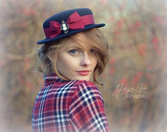 Women's Boater Hat / Charcoal Gray Wool Felt with Red Bow
