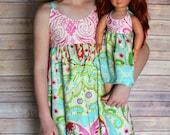 Dolly and Me paisley  summer sundress, size 1-12, girls knot dress, girls spring  sundress