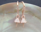 Rose Gold plate 925 Sterling Silver French Hooks CZ Diamond Pave Cone Conical bead cap, half drilled beads and drops, EW-0060