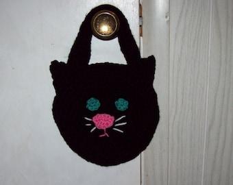 Black Cat Tote Kids Purse  Trick Or Treat Halloween Bag Crochet Purse
