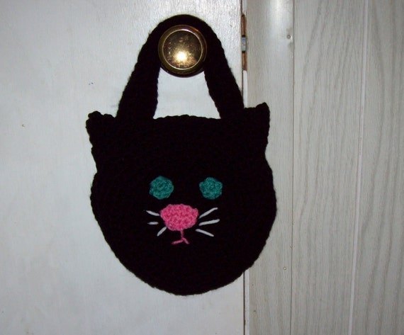 Black Cat Tote Kids Purse  Trick Or Treat Halloween Bag