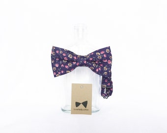 Pip 06 - Blue/Pink Floral Men's Pre-Tied Bow Tie or Self-Tied Bow Tie