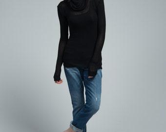Sheer Blouse / Long Sleeve Shirt / See-through Shirt / Unique Shirt / Black Top / marcellamoda - MB682
