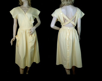 1980s does 1940s sunshine yellow cotton dress Medium - Canada large pockets - cap sleeves back buttons - full skirt - open criss cross back