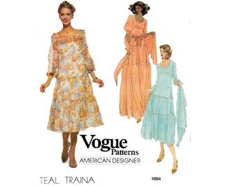 Vogue American Designer 1894 TEAL TRAINA Womens Peasant Hippie Maxi Dress 70s Vintage Sewing Pattern Size 12 Bust 34 inches UNCUT F Folds