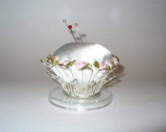 Handmade White Pincushion, Silver Crown Repurposed into a Unique Pincushion with Pink Roses